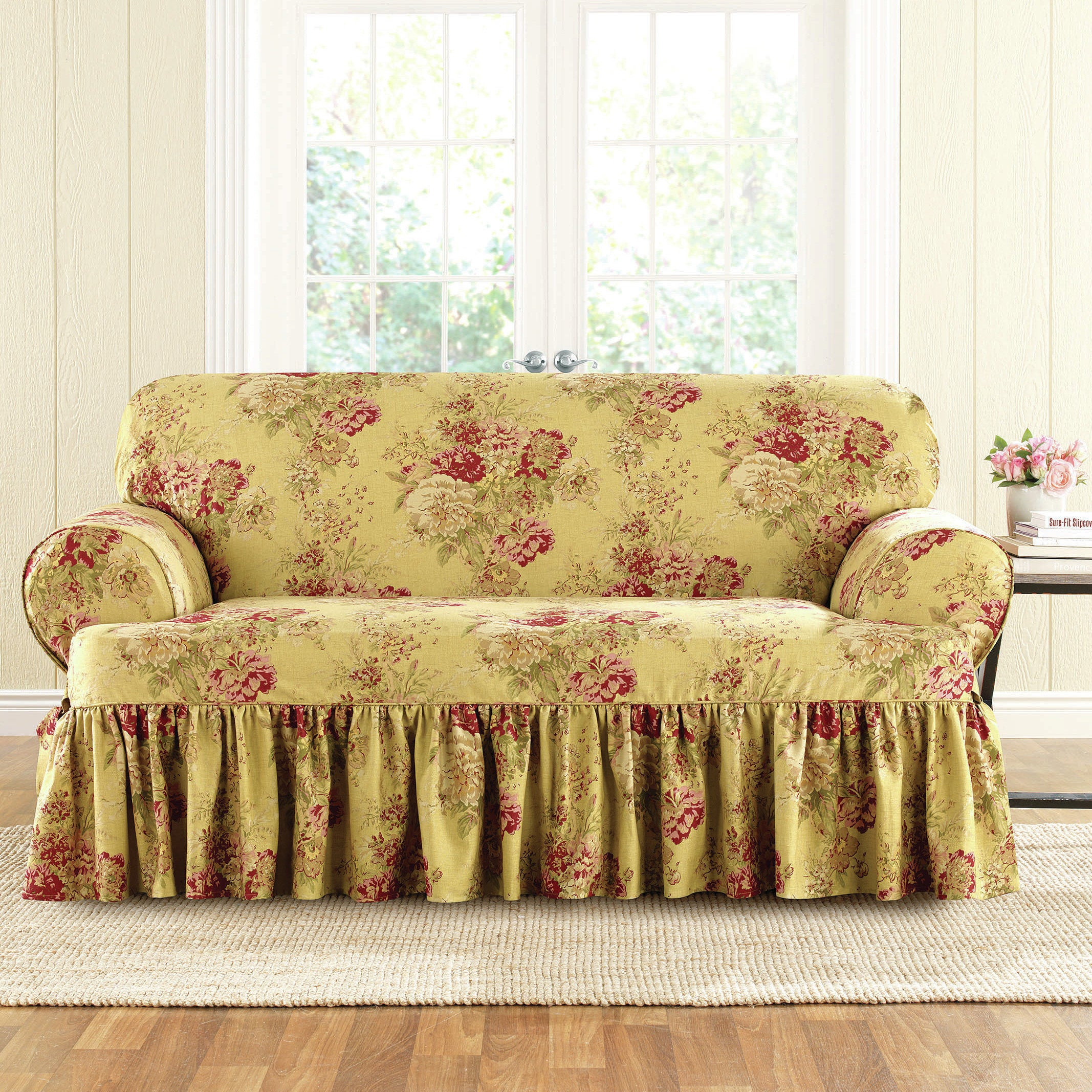 Superb Sure Fit Ballad Bouquet Loveseat T Cushion Skirted Slipcover Ncnpc Chair Design For Home Ncnpcorg