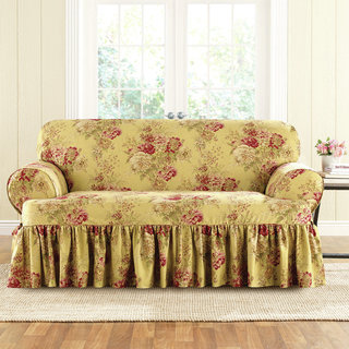 Sure Fit Ballad Bouquet Loveseat T-Cushion Skirted Slipcover
