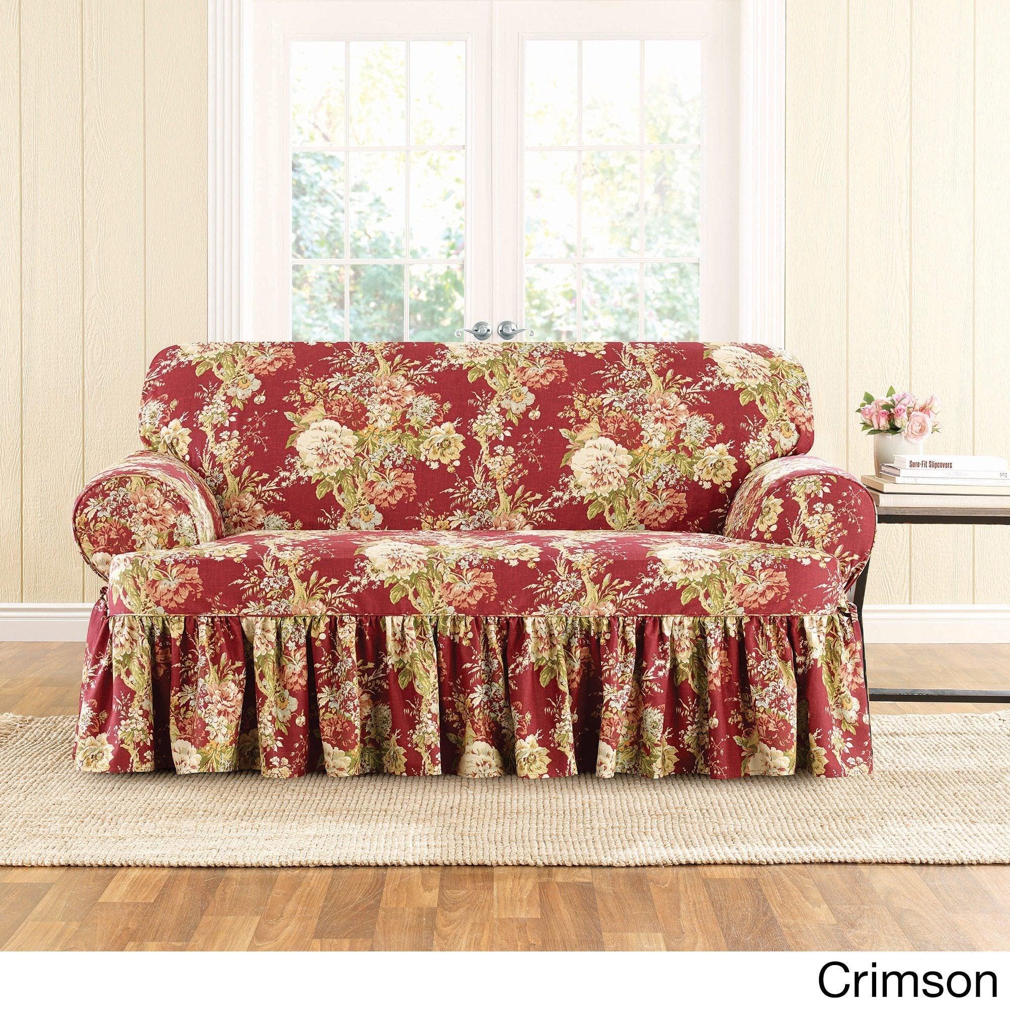 Terrific Sure Fit Ballad Bouquet Loveseat T Cushion Skirted Slipcover Theyellowbook Wood Chair Design Ideas Theyellowbookinfo