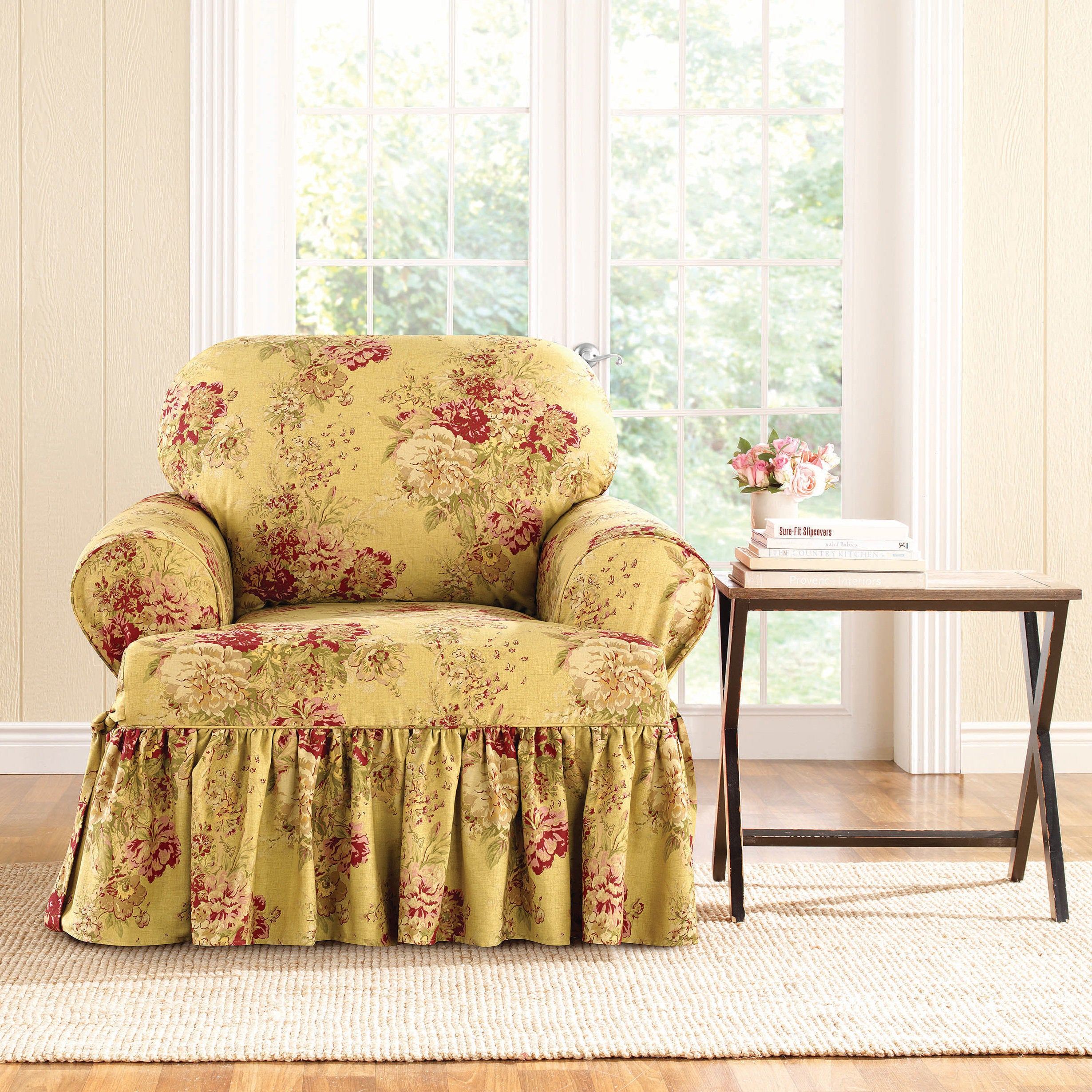 Sure Fit Ballad Bouquet Armchair T Cushion Skirted Slipcover