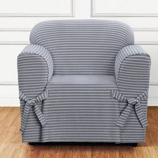 Sure Fit Horizontal Club Stripe 1 Piece Chair Slipcover