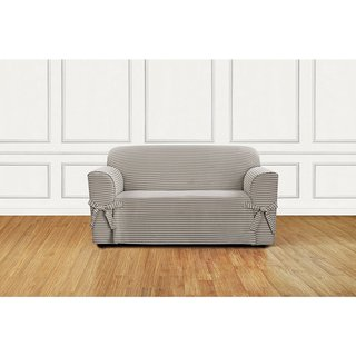 Sure Fit Horizontal Club Stripe 1 Piece Loveseat Slipcover