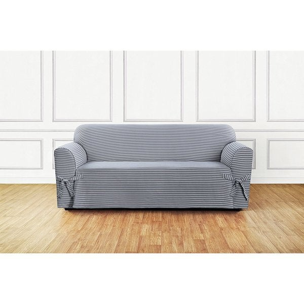 Shop Sure Fit Horizontal Club Stripe 1 Piece Sofa