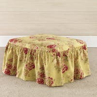Sure Fit Ballad Bouquet Multicolor Cotton 2-piece Ottoman Slipcover