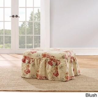 Sure Fit Ballad Bouquet Multicolor Cotton 2-piece Ottoman Slipcover (Option: Pink)
