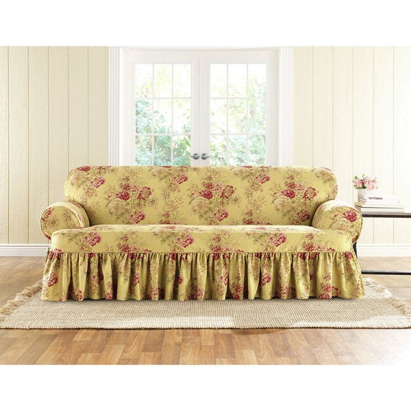 Sure Fit Ballad Bouquet 1 Piece T-Cushion Sofa Slipcover - Sure Fit Ballad Bouquet 1 Piece T-Cushion Sofa Slipcover - Free