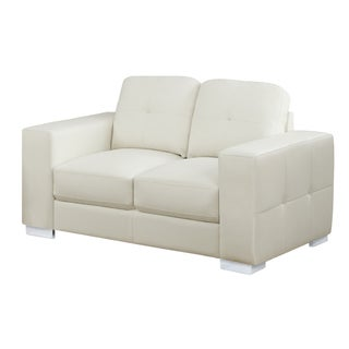 Tufted Bonded Leather White Ivory Loveseat