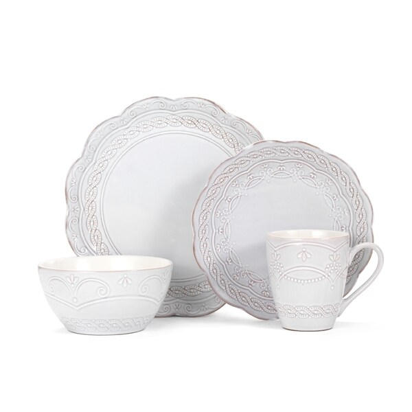 Pfaltzgraff Everyday Elle White and Beige Stoneware 16-piece Dinnerware Set (Service for 4  sc 1 st  Overstock : beige dinnerware sets - pezcame.com