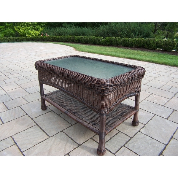 Brown Resin Wicker Coffee Table