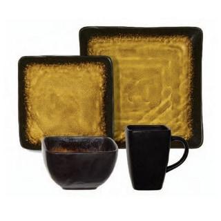 Gibson Suniva Brown/Black Square 16-piece Dinnerware Set (Service for 4)