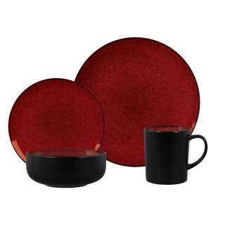 Novabella Burgundy Stoneware 16-piece Dinnerware Set