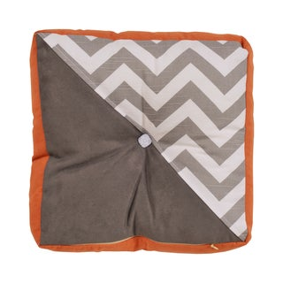 Shimmer Charcoal/Tangerine Silver/Abigail and Zig Zag Ash/Passion Suede Tufted Throw Pillow