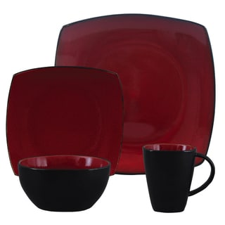 Gibson Soho Lounge Red Stoneware Square-shape 16-piece Dinnerware Set (Service for 4)