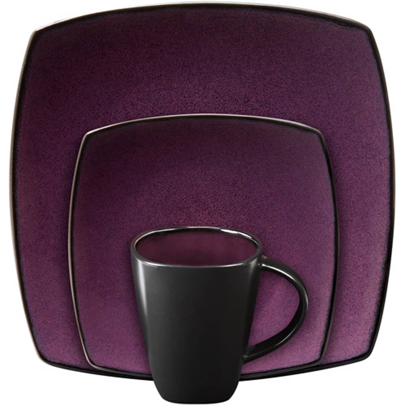 Gibson Soho Lounge Square Purple 16-piece Dinnerware Set ...