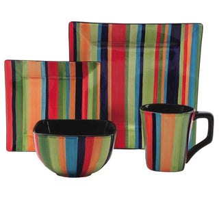 Gibson Elite Square Florid Stripes 16-piece Dinnerware Set (Service for 4)