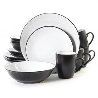 Vivendi Black and White Stonewear Dinnerware Set (Set of 16)