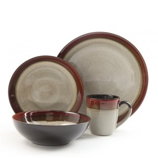 Gibson Couture Bands Cream With Red Rim 16-piece Dinnerware Set
