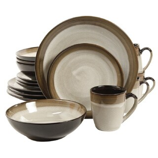 Gibson Couture Bands Cream with Brown Rim Stoneware 16-piece Dinnerware Set