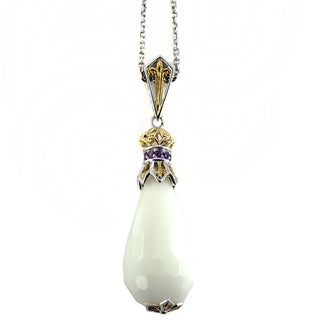 One-of-a-kind Michael Valitutti White Agate Drop and African Amethyst Pendant