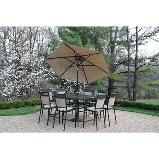 Oakland Bali Sling and Cast Aluminum 11-piece Bar Set with Square table, Stackable Bar Stools, 9 ft. Umbrella and Umbrella Stand