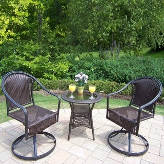 Sedona 3 Pc. Bistro Set with 2 Swivel Wicker Chairs and 25-inch Side Table