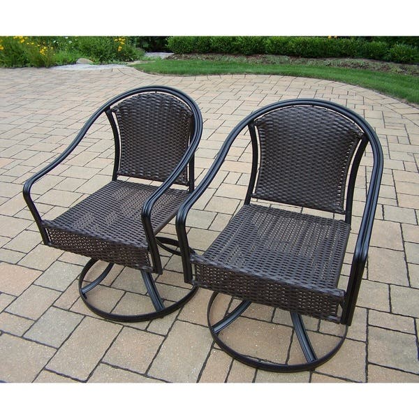 Peachy Shop Sedona 3 Pc Bistro Set With 2 Swivel Wicker Chairs And Caraccident5 Cool Chair Designs And Ideas Caraccident5Info