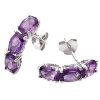 Purple Sterling Silver 3-stone 1.80-carat Amethyst Earrings