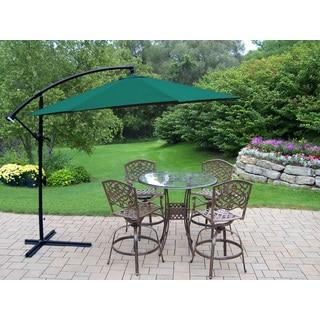 Lattice Aluminum 6 Pc. Swivel Bar Set with Bar Table, 4 Swivel Bar Stools, 10 ft. Umbrella and metal base