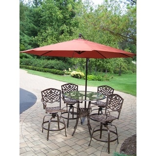 Lattice 6 Pc. Swivel Bar Set with Bar Table, 4 Swivel Bar Stools, 10 ft. Umbrella and metal base