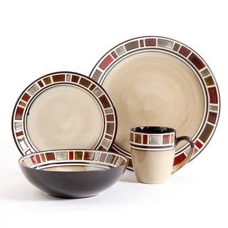 Gibson Elite Cimarron Red and Cream 16-piece Dinnerware Set