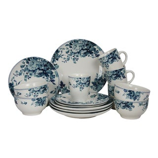 Elama Traditional Blue Rose Stoneware Dinnerware Set (Case of 16)
