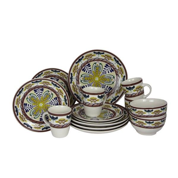 Elama Country Sunrise Stoneware Dinnerware Set (Case of 16)  sc 1 st  Overstock : country dinnerware - pezcame.com