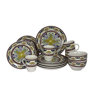 Elama Country Sunrise Stoneware Dinnerware Set (Case of 16)