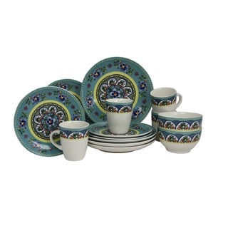 Elama Santa Fe Springs Multicolored Stoneware 16-piece Dinnerware Set