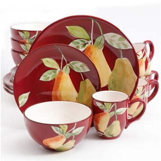 Gibson Home Fruitful Pears Multicolor Stoneware 16-piece Dinnerware Set (Service for 4)