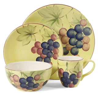 Gibson Home Fruitful Harvest Grapes 16-piece Dinnerware Set (Service for 4)
