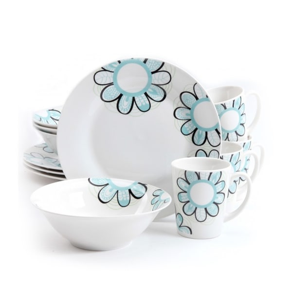 Gibson Home 'Lush Blossom' 12-piece Dinnerware Set (Service for 4)