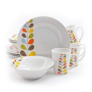 Gibson Home Flourishing Stoneware 12-piece Dinnerware Set (Service for 4)