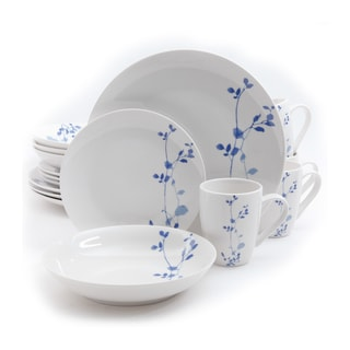 Gibson Home Dorabella Blue Floral Stoneware16-piece Dinnerware Set (Service for 4)