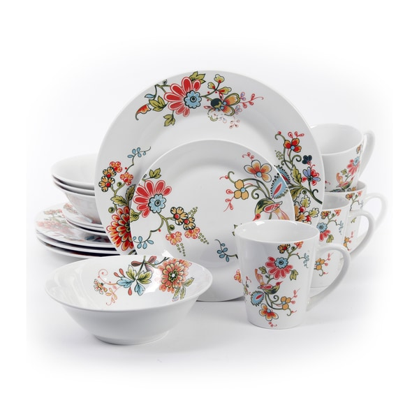 Gibson Home Doraville Stoneware Floral-patterned 16-piece Dinnerware Set (Service for 4  sc 1 st  Overstock & Shop Gibson Home Doraville Stoneware Floral-patterned 16-piece ...