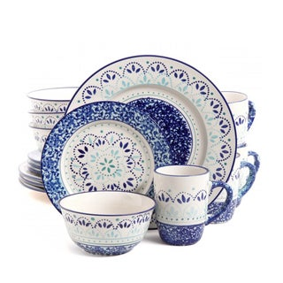 Gibson Elite Kamille Blue Stoneware 16-piece Dinnerware Set