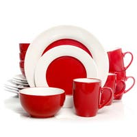 Gibson Home Style Deluxe Red Stoneware 16-Piece Dinnerware Set (Service for 4)