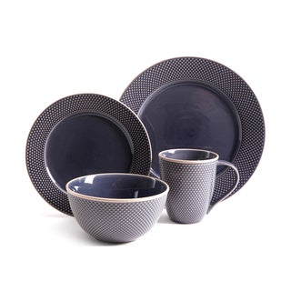 Gibson Lilith Blue Stoneware 16-piece Dinnerware Set (Service for 4)