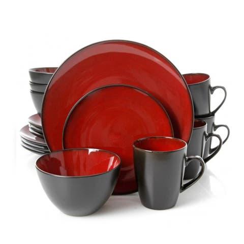 Gibson Soho Lounge Burghundy Stoneware Round 16-piece Dinnerware Set (Service for 4)