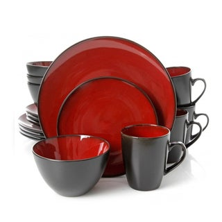 Gibson Soho Lounge Burghundy Stoneware Round 16-piece Dinnerware Set (Service for 4)