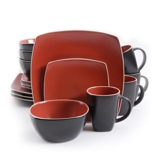 Gibson Soho Lounge Brick Red/ Matte Stoneware 16-piece Dinnerware Set (Service for 4)