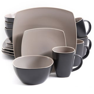 Gibson Soho Lounge Matte Taupe Stoneware 16-piece Dinnerware Set (Service for 4)
