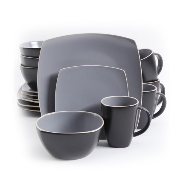 Gibson Soho Lounge Matte Grey and Black Stoneware 16-piece Dinnerware Set (Service for  sc 1 st  Overstock.com & Gibson Soho Lounge Matte Grey and Black Stoneware 16-piece ...