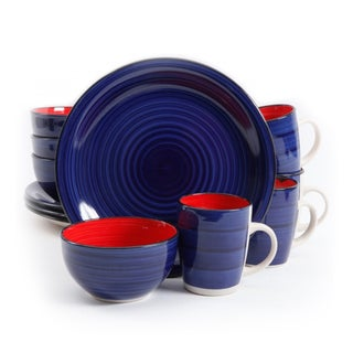 Gibson Color Fling Cobalt/Red Stoneware 12-piece Dinnerware Set