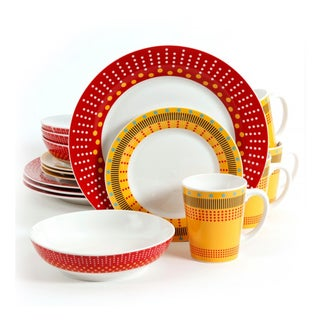 Gibson Lockhart Red and Yellow 16-piece Dinnerware (Service for 4)